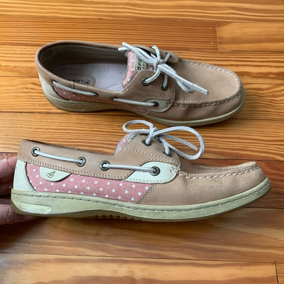 Sperry Top Sider slip on shoes 9.5 pink/white/tan